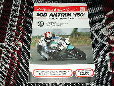 1989 New Clough Motor Cycle Road Races Programme 19/8/89 - Mid Antrim 150