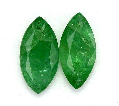 Certified Natural Emerald 10*5 mm Marquise Cut Pair 2.22 Cts Loose Gemstones