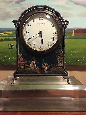 Mappin And Webb Japanned Art Deco Mantle Clock.
