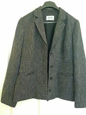 Next Jacket 16 Black and White fine check hidden button on fronts