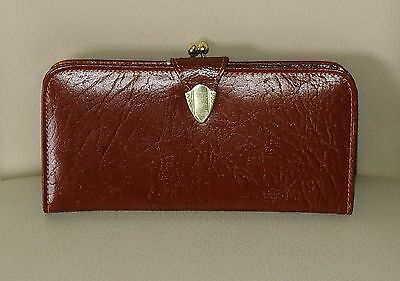 1950s VINTAGE TAN BROWN LARGE LEATHER PURSE MADE IN ENGLAND IMMACULATE CONDITION