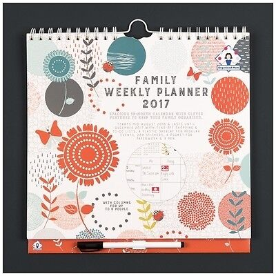 Organised Mum Family Weekly Planner Calendar 2016/17 (runs mid Aug 16 to Dec 17)