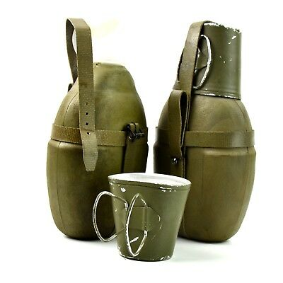 Genuine German NVA DDR canteen with cover and cup. Original East Germany canteen