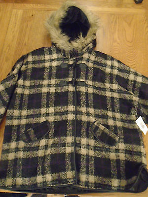 BNWT girls tartan check hooded winter cape with arms. 10-11 yrs.RRP £24. Matalan