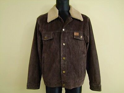 Men's CAT CATERPILLAR REAL LEATHER BROWN TRUCKER JACKET   Size:L   NWT