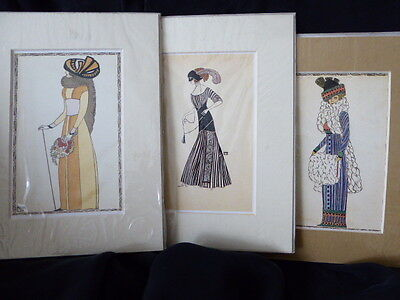MK fashionable ladies repro postcards in mounts