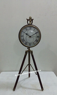 Contemporary Nautical Clock On Tripod Desk Table Clock with Brown leather Clock
