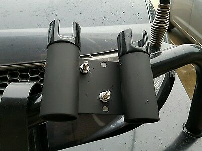 2 x bull bar fishing rod holders angle or straight mount (hold 4 rods)