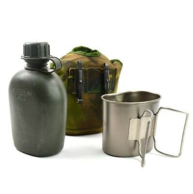 Original Netherlands Dutch Army Canteen with cup and cover Alice clips