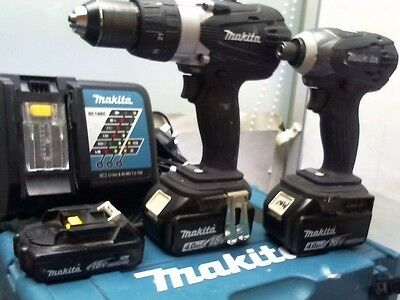 Makita DLX2005BJ 18V Black Combi & Impact Driver Kit, 2 x 4.0 + 1.3.0 Ah Batts
