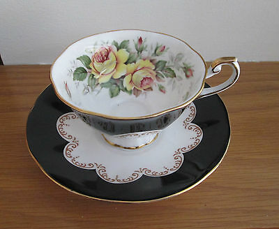 Vintage Queens Ebony Bone China 1950`s Cup Saucer Yellow Rose