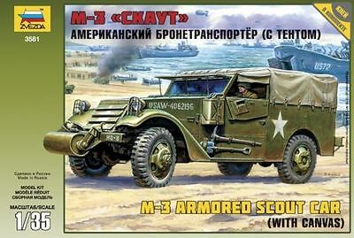 Zvezda 3581 M3 Armored Scout Car (With Canvas) 1/35