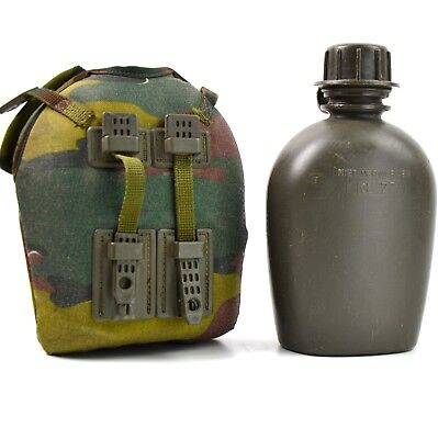 Genuine Belgium / Dutch Army Canteen with camo cover. Army water bottle