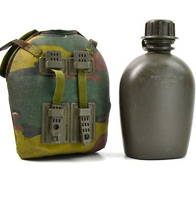 Genuine Belgium / Dutch Army Canteen with cup and camo cover. Army water bottle