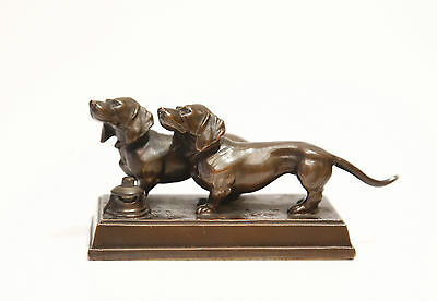 Vintage bell push two dachshund marked Germany