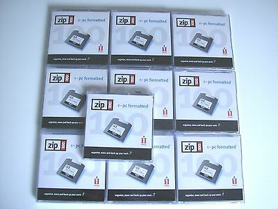 10 x IOMEGA ZIP 100 MB DISKS + CASES - PC FORMATED - NEW