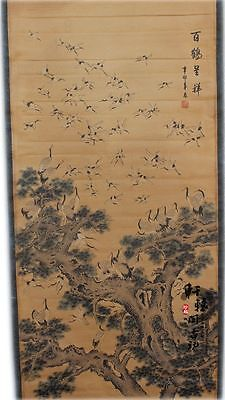 Rare antique chinese museum painting scroll/Baihe diagram/百鹤图