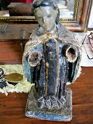 Original Antique Carved Wood Santo  Polichromed 1800's  Great Piece
