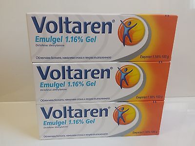 3 boxes Voltaren Emulgel 100gr 1,16 %Topical Anti-inflammatory Pain Relief