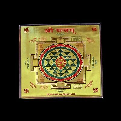 """Waves And Rays 9"""" 24C Gold-Shri Shree Yantra Source Of Supreme Energy"""