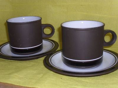 Hornsea Contrast 1970s stoneware coffee/tea cup & saucer PAIR, chocolate / white