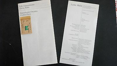Levins Muhle OPERA UDO ZIMMERMANN DRESDEN EAST GERMANY PROGRAM WITH TICKET 1973