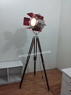 Marine Floor Search Light With Lamp Tripod Nautical Leather  Spot Lamp