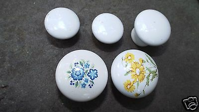 Lot of  5White Knobs Ceramic Drawer Cabinet Polished Desk Draw Pull Small