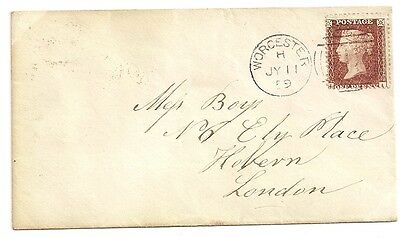 Penny red star on envelope Worcester to London