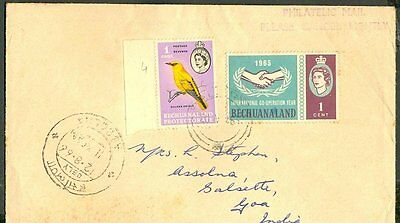 Bechuanaland To India 1966 Cover 37509 Sc 180 African Golden Oriole Very Unique