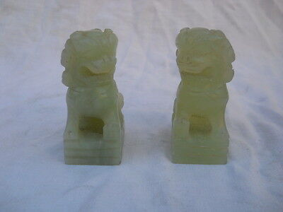 2 old chinese jade foo dogs