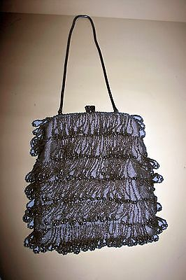 Vintage 50s 60s Beaded Silver Purse Bag Walborg Shimmy