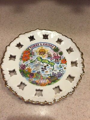 Turks Caicos Islands Caribbean Tropical Souvenir Collector Plate Dish Vintage