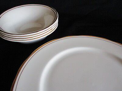 English Bone China Gold & white Dinner plates and dessert bowls x 4