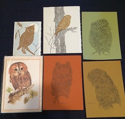 Owl Greeting Cards Blank Lot Vintage With Envelopes