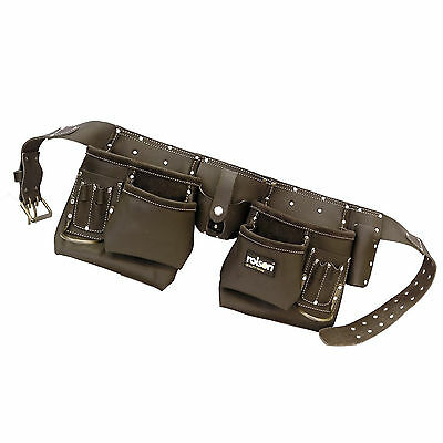 Quality 10 Pocket Pro Oil Tanned Leather Tool Belt Work Pouch Builders Nail Bag