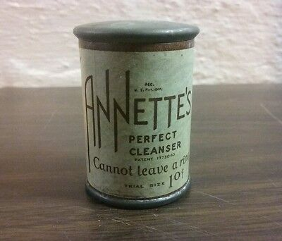 Antique 1930 Annette's Perfect Cleanser Can Trail Sample Size Cleaning Boston