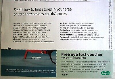 1 Specsavers Eye Test Voucher Coupon Valid to 31 December 2016 authentic