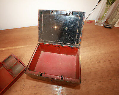 Cash Tin Money Box STUNNING Vintage Collectable Antique  VERY HEAVY UNUSUAL PROP