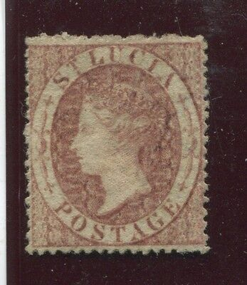 """ST. LUCIA - SG. 1 : 1860 """"  ( 1d. )  ROSE - RED """" .  - Watermark SMALL STAR ."""