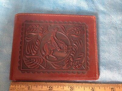 vintage Tooled Leather Wallet Cowboy Bucking Bronco