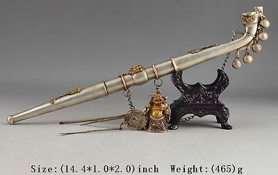 Collectible Decorated Old Handwork Tibet Silver Carved Buddha Bell Smoking Pipe