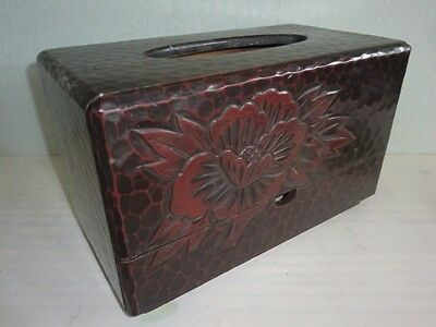 Japanese Vintage KAMAKURA carving tissue box and accessory case