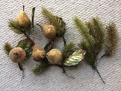 5 gold artificial Xmas decorative rustic pears with green foliage