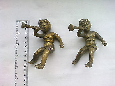 931 A Pair of Brass Antique decorative angels from lamp or candle holder