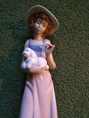 "Lladro Nao "" Girl With Dog "" Figurine."