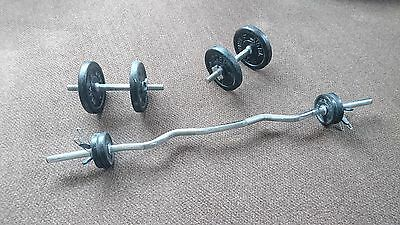 Dumbells with Tricep Bar - Includes York Weight Plates