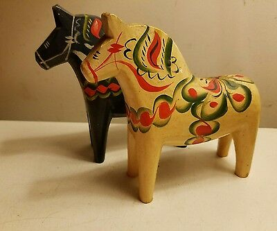 Sweden wood hand painted horses 2 mid century modern