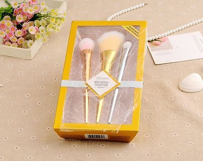 Real TECHNIQUES Makeup Brushes Core Collection Bold Metals Collection 3PCS