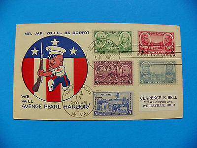 Wwii Original 1942 Marine First Day Cover With Drawing Of Marine With Rifle